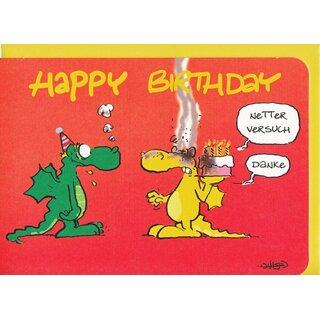 Geburtstagskarte Witzig Happy Birthday Drachenwitz A6