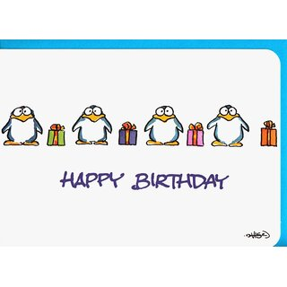 Happy Birthday Karte.Happy Birthday Karte Pinguine Mit Geschenken A6