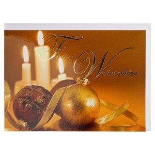 Braune Christbaumkugeln.Weihnachtskarte Christbaumkugeln Gold Braun A6