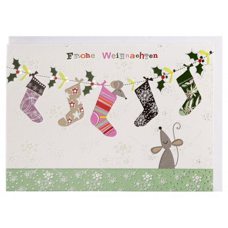 Weihnachtskarte Weihnachts-Socken und Mäuse A6