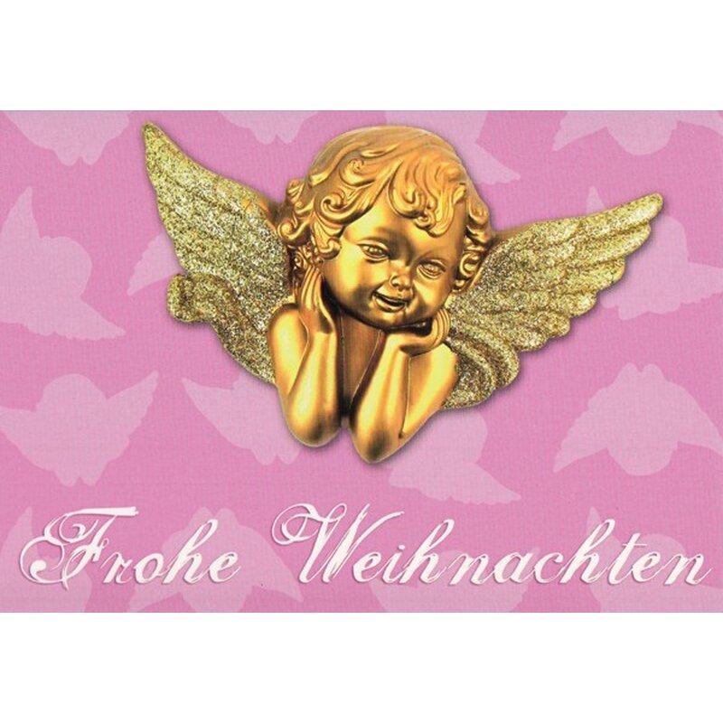 weihnachtskarte kitsch rosa mit goldenem engel a6. Black Bedroom Furniture Sets. Home Design Ideas