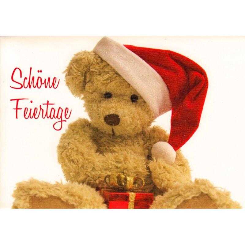 weihnachtskarte sch ne feiertage teddyb r mit. Black Bedroom Furniture Sets. Home Design Ideas
