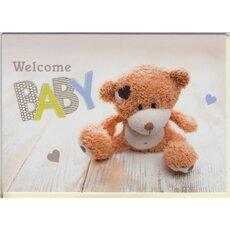 Glückwunschkarte Grußkarte Baby Geburt gold  Milchflasche unisex Junge Mädchen
