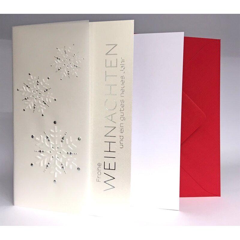 weihnachtskarte edel perlmutt silber pergament gepr gt. Black Bedroom Furniture Sets. Home Design Ideas
