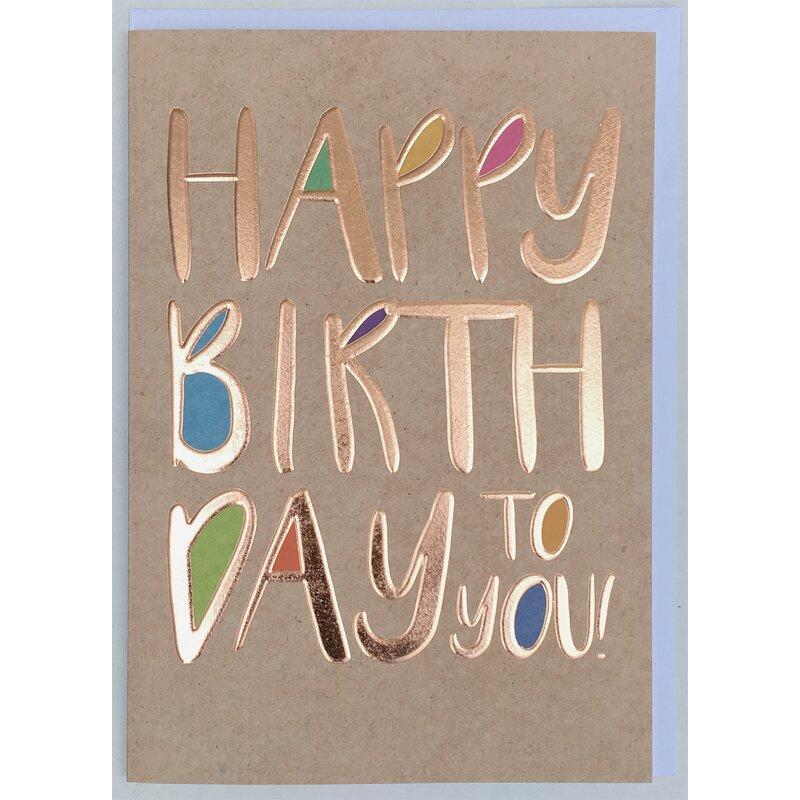 a4 xxl geburtstagskarte happy birthday schrift kupfer bunt