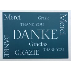 Postkarte Danke international Thank you Merci Gracias Grazie