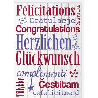 A4 Xxl Gluckwunschkarte Schrift Blau Rot In 10 Sprachen