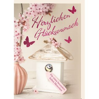 Din A4 Glückwunschkarte Kirschblütenzweig