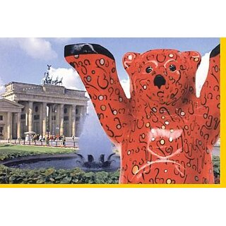 Grußkarte Buddy Bear: Georgien m. Brandenburger Tor